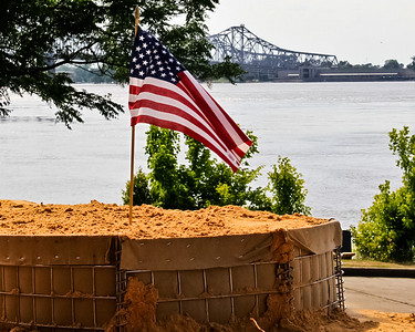 "Natchez ""Under the Hill"" Flood Preperation 2011 with Vidalia in the background"
