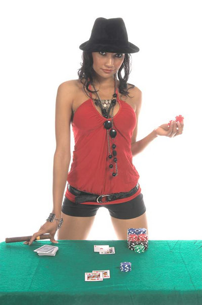 Sexy woman in a sexy low cut red blouse and  black suede fedora hat playing Blackjack<br /> <br /> Generic no label card backs from China