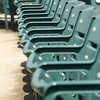 a generic side shot of empty stadium seating row. shallow depth of field.