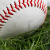 macro shot of smudged and marked baseball in grass.