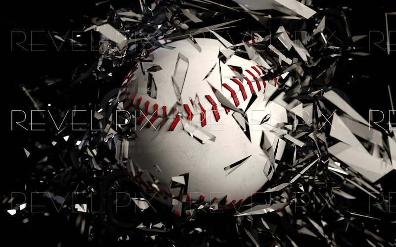 a 3d render of a baseball breaking glass against a black background