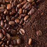 Coffee Beans and Grounds from Above Close Up