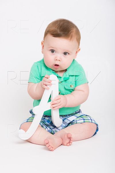 Baby Holding Letter A