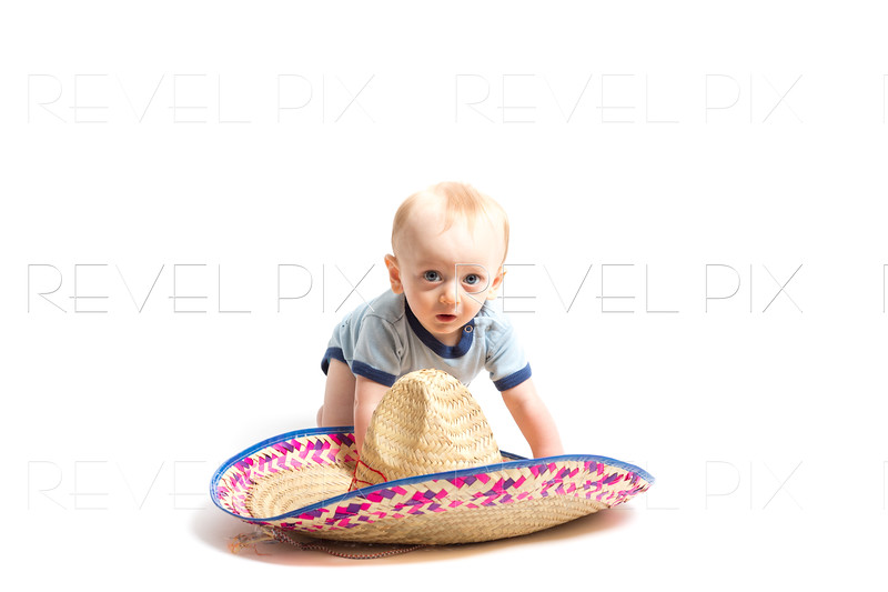 Baby and Sombrero on White