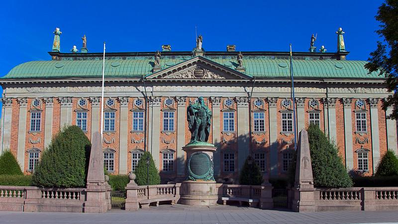 House of Nobility built 1641 - 1674. In front, the King  Gustav Vasa 1496 - 1560