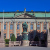 House of Nobility built 1641 - 1674. In front, the King  Gustav Vasa 1496 - 1560