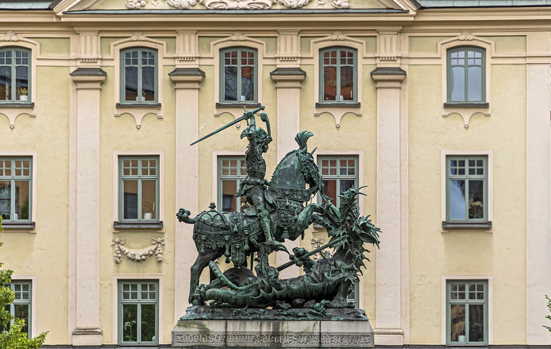 Saint George and the Dragon. <br /> Sankt Göran och draken, på Köpmantorget Gamla stan, Stockholm