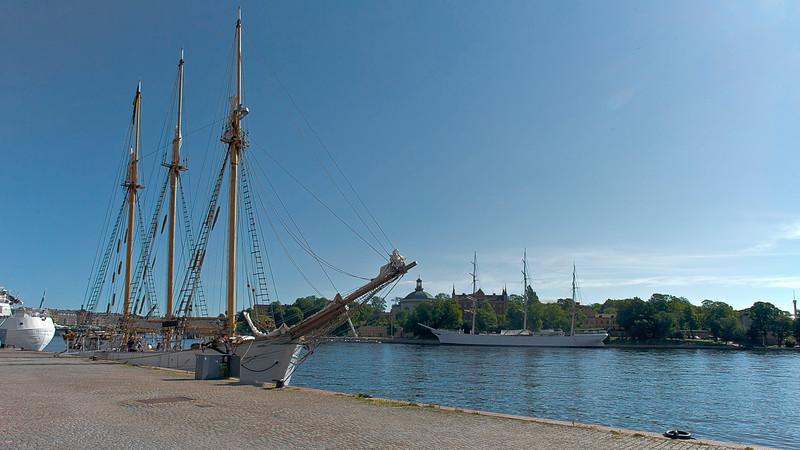 Skeppsbron with ship<br /> In skeppsholmen - the ship af Chapman 1888<br /> Today  a youth hostel