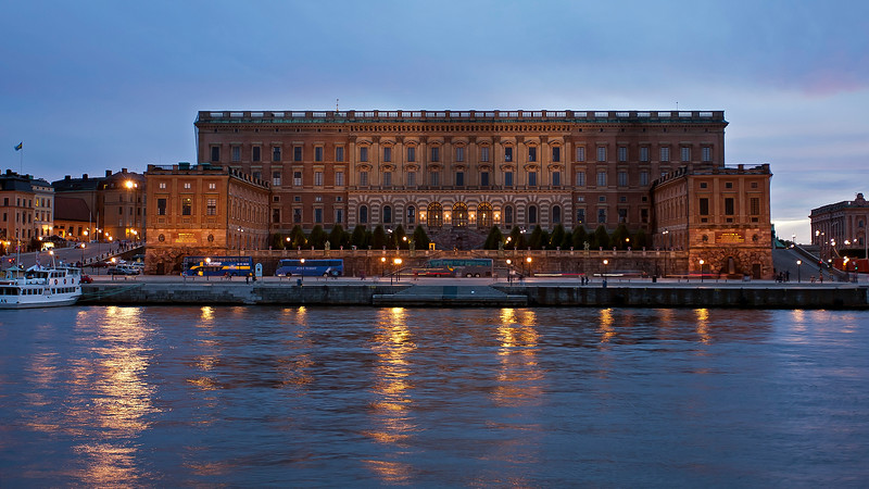 Royal palace Stockholm in sunset. Built from 1692  and  ready 1771