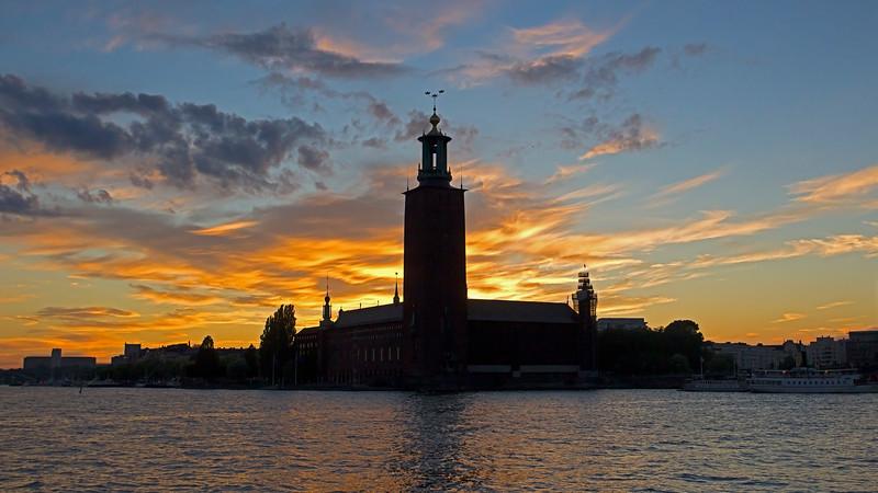 Sunset behind Stockholm City Hall Stockholm