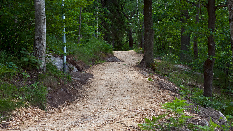 Runing track of sawdust in forest, Stockholm