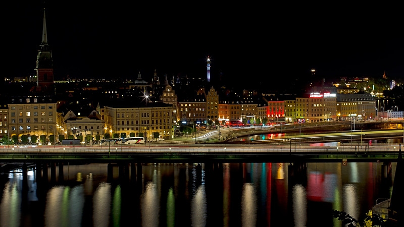Munkbroleden and the old town in Stockholm by night