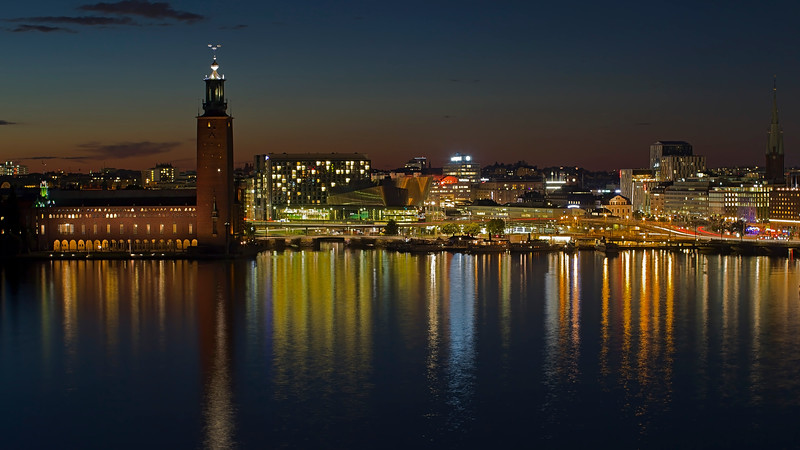 City Hall and Stockholm city by late evening in summer