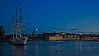 The hostel ship af Chapman and Södermalm Stockholm  by night