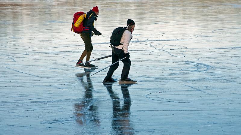 Skating on frozen lake, Stockholm
