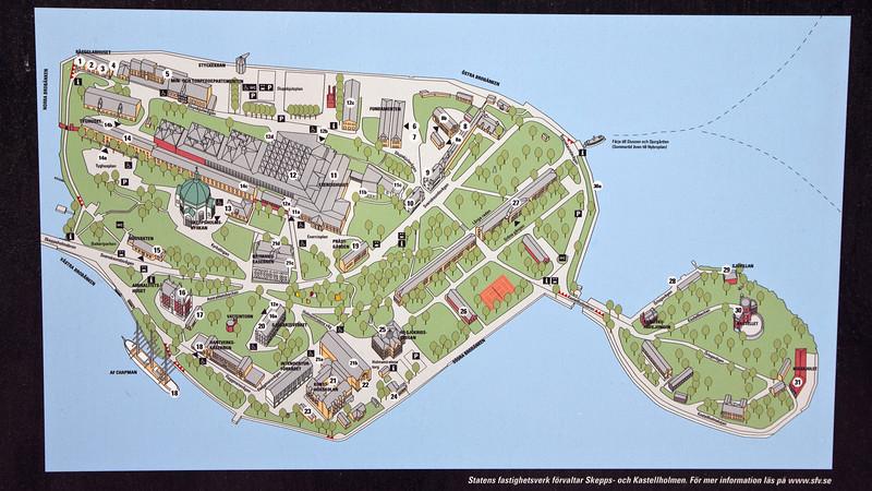 Map over Skeppsholmen and Kastellholmen Stockholm