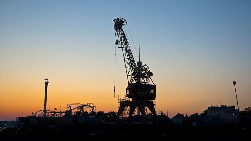 Crane painted like a giraffe,sunset in Stockholm