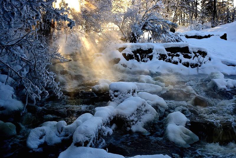 Stream in winter, Stockholm