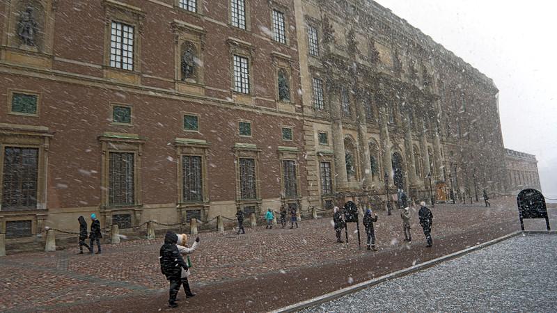 It  even happen in Stockholm - snowing!