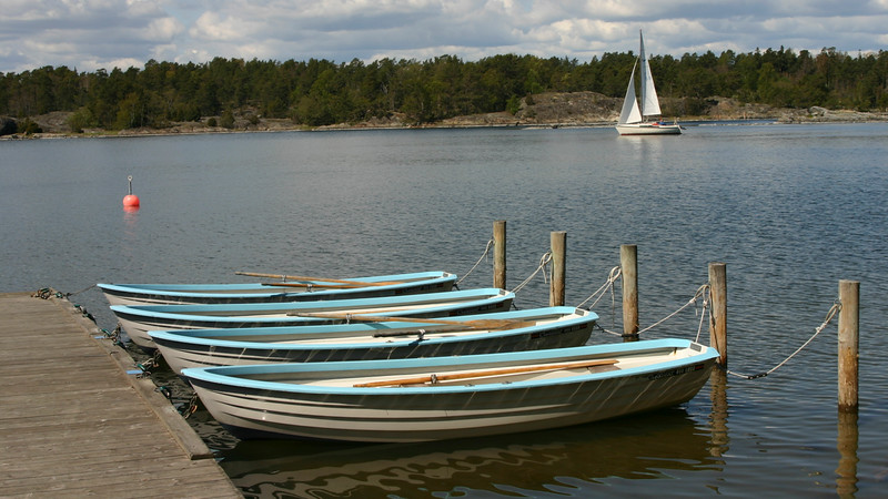 Rowboats in archipelago, Stockholm