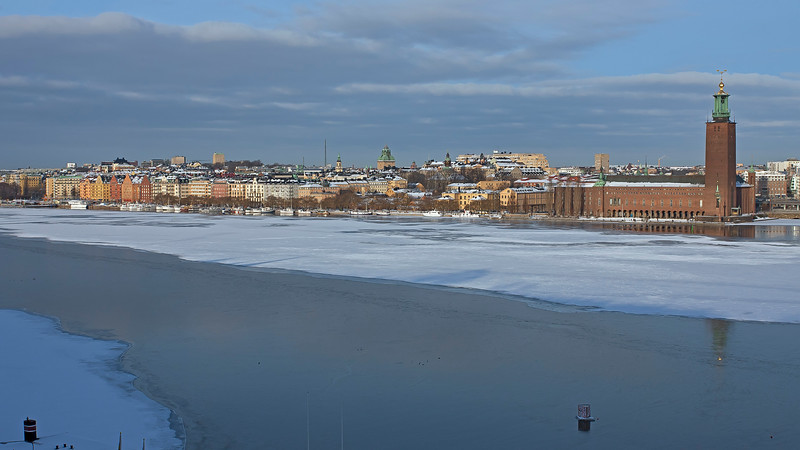 Riddarfjärden and City hall Stockholm in winter
