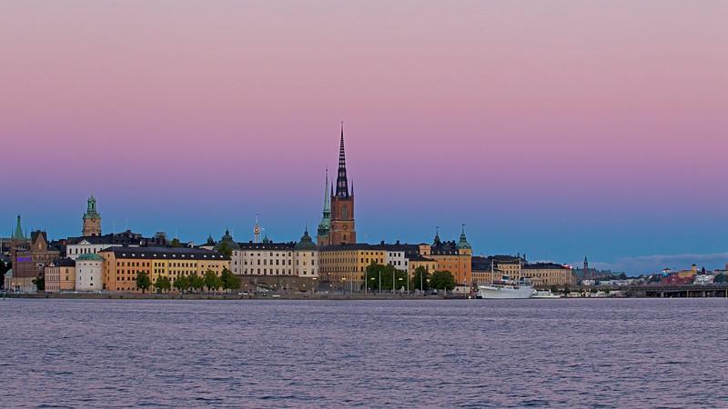 Riddarholmen, with sunset behind me, Stockholm