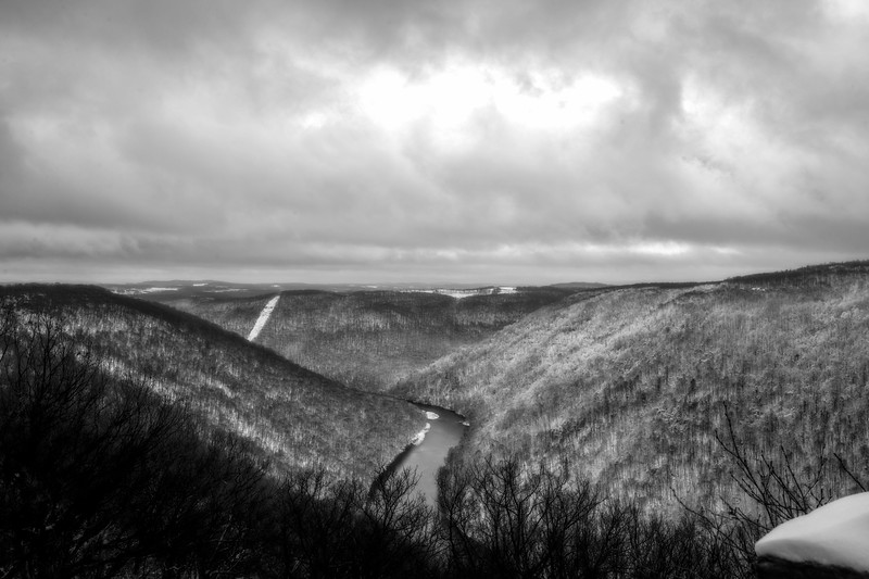 Cheat River gorge on wintry day