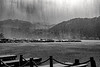Heavy rain on the lake
