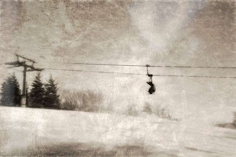 Riding to on the ski lift to the top ...paintography