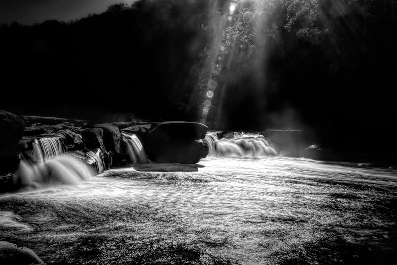 Sunburst over the waterfall