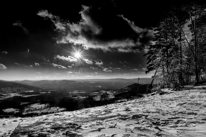 Sun across the valley black and white