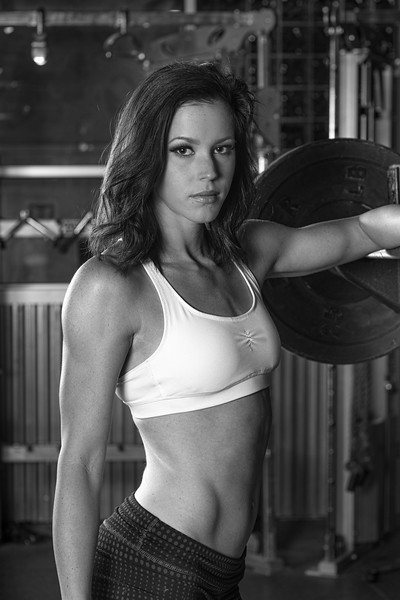 Model Emily working out in gym  available for licensing copy release