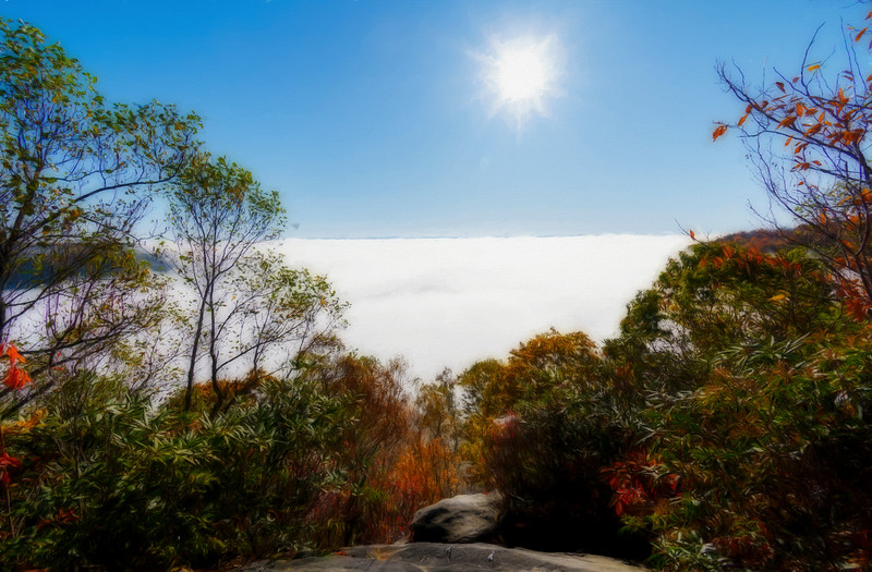 Sun above the valley filled with a cloud ..... paintography