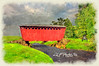 """Red Covered Bridge With Car<br /> <br /> Framed, metal, canvas order at this website - <a href=""""http://fineartamerica.com/featured/red-covered-bridge-with-car-dan-friend.html"""">http://fineartamerica.com/featured/red-covered-bridge-with-car-dan-friend.html</a>           .................................................................pixel paintography"""