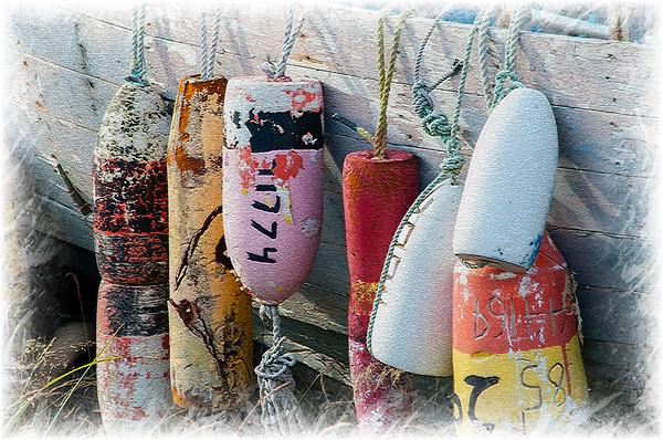 Buoys hanging on boat