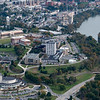 Aerials of Evansdale Campus with Engineering Buildings and CAC and Mongahela River