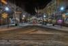 Morgantown High Street on cold snowy night