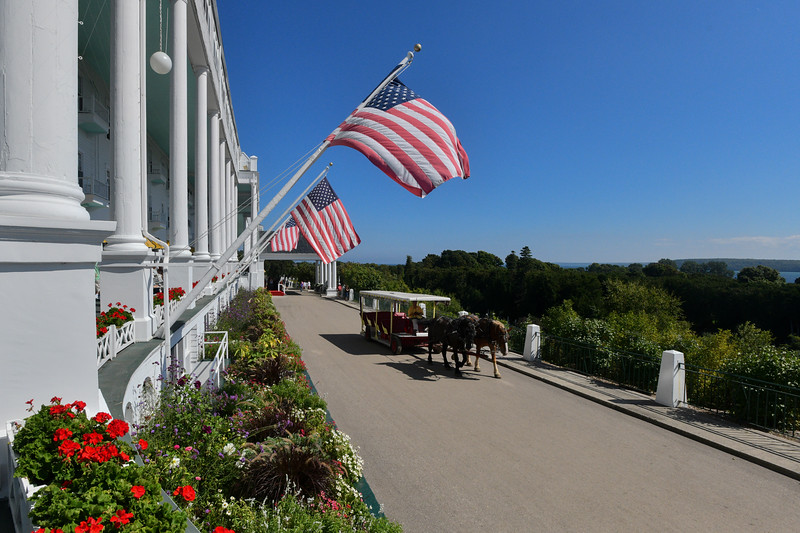 Mackinac Island - Flag in front of Grand Hotel