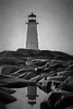 Artistic scene of lighthouse at Peggys Cove
