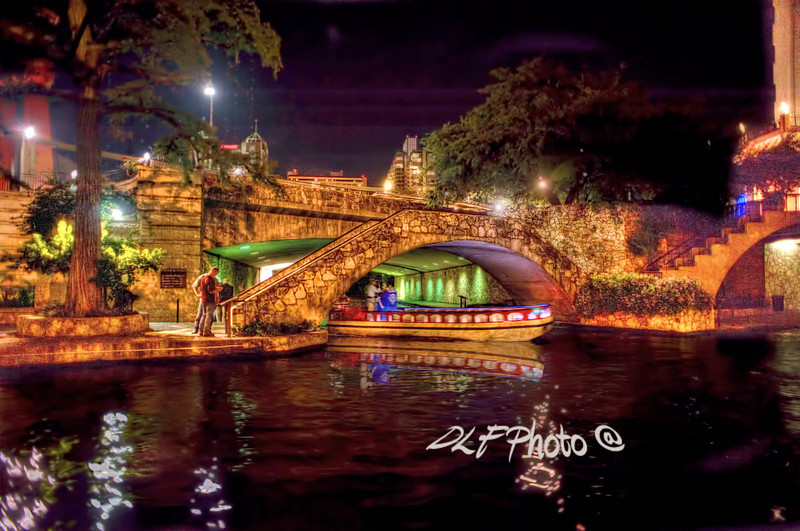 "Boat On Canal Riverwalk San Antonio At Night<br /> <br /> Framed, metal, canvas order at this website - <a href=""http://fineartamerica.com/featured/boat-on-canal-riverwalk-san-antonio-at-night-dan-friend.html"">http://fineartamerica.com/featured/boat-on-canal-riverwalk-san-antonio-at-night-dan-friend.html</a>"