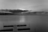 Early morning on lake in black and white