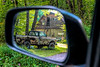 Old truck i rear view mirror
