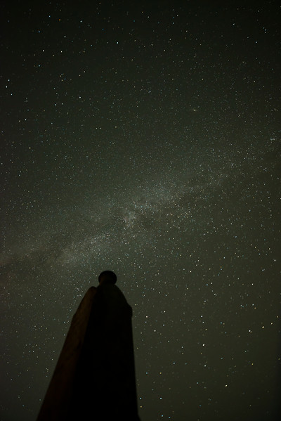 Tombstone in front of Milky Way