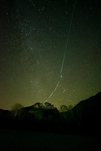 Meteor behind Seneca Rocks