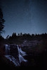 Faint Milky Way behind Blackwater falls at night
