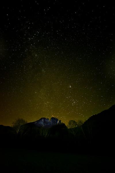 Night time glow behind Seneca rocks