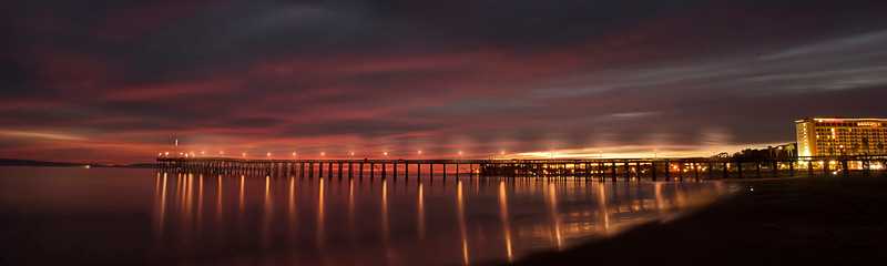 "Ventura pier at sunset with lights.....................to purchase - <a href=""http://bit.ly/1pLRiSo"">http://bit.ly/1pLRiSo</a>"