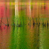 Red and Green colors reflection in water