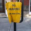 No Parking sign on meter