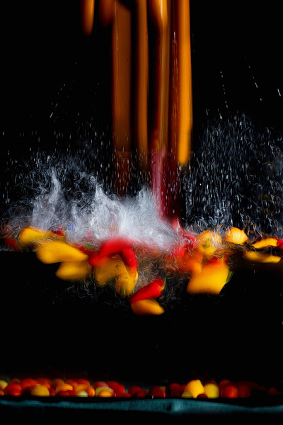 Mini sweet peppers taking a plunge in the water
